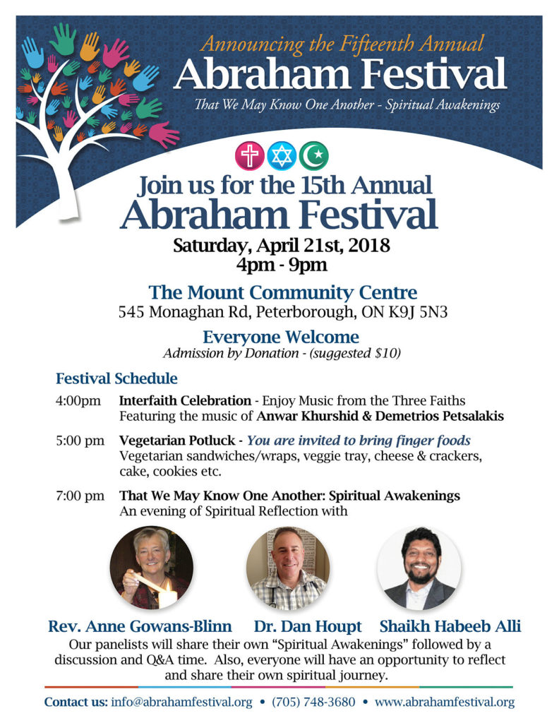 Abraham Festival poster describing the event of April 21st from 4:00 - 9:00 p.m. to take place at the Mount Community Centre.