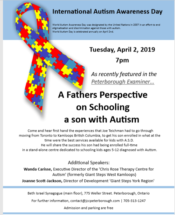 Autism Presentation at Beth Israel on April 2nd